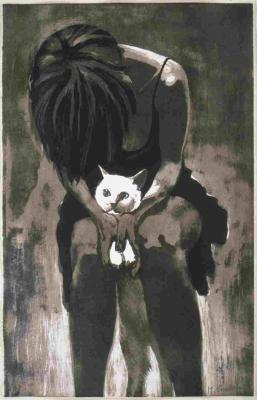 Vrouw met kat van Mary Grooteman.
