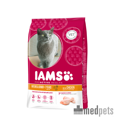IAMS Cat Mature & Senior Chicken voor katten van 7 jaar en ouder is een volledige droogvoeding