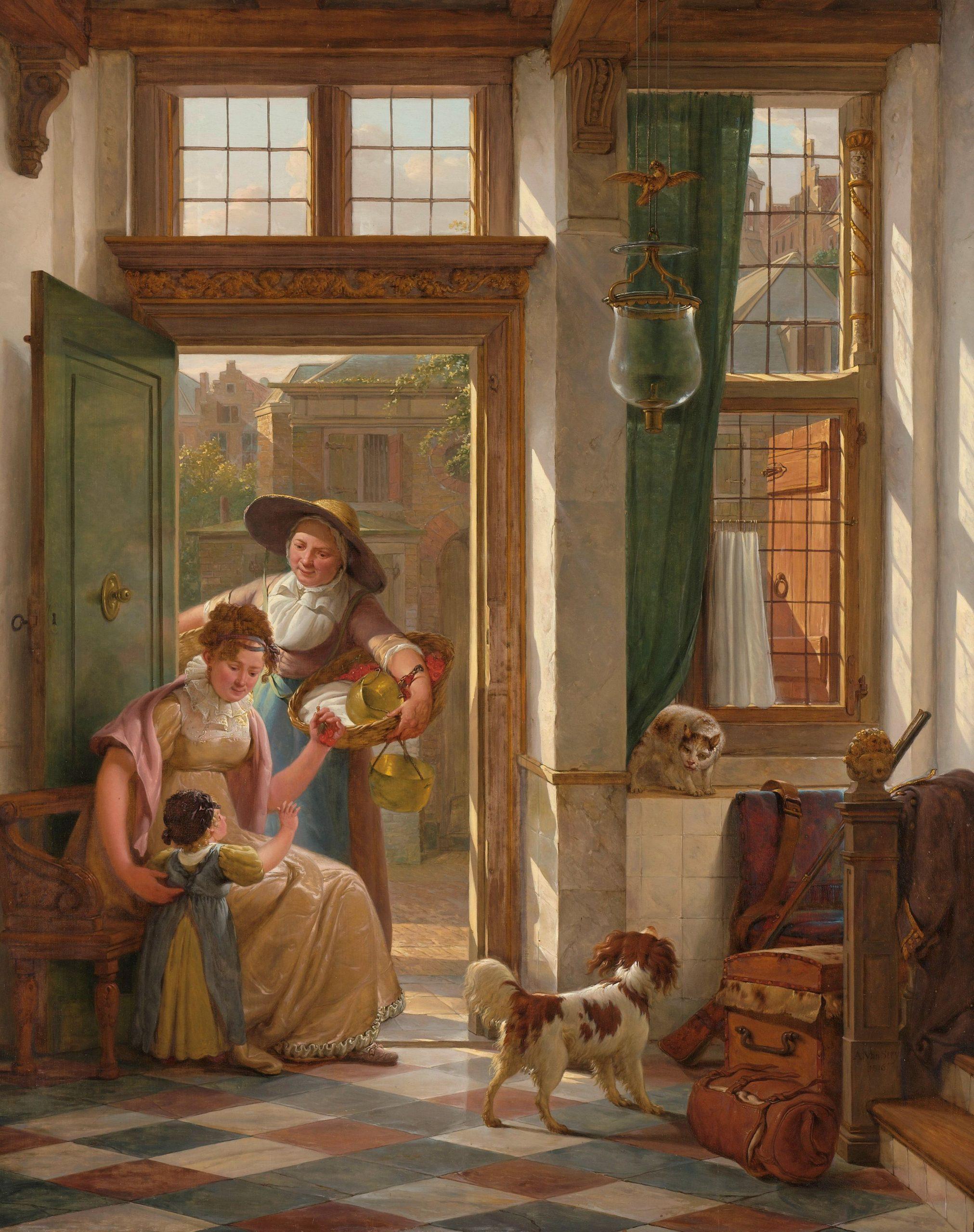 Een kersenverkoopster aan de deur. Kunstenaar: Abraham van Strij