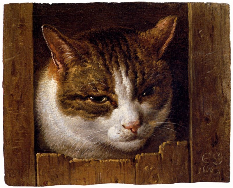 Cornelis-Saftleven-A-Cat-Peeping-Through-A-Fence
