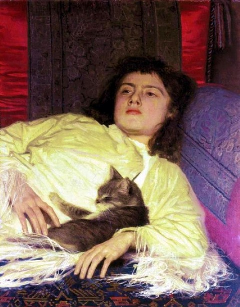 Ivanan Nikolaevich Kramskoy (1837-1887) A girl with a cat